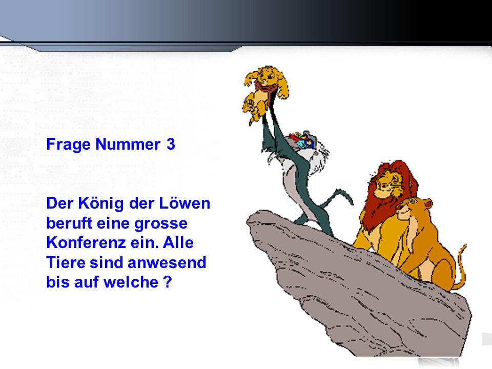 Frage Nummer 3 Der König der Löwen beruft eine grosse Konferenz ein.