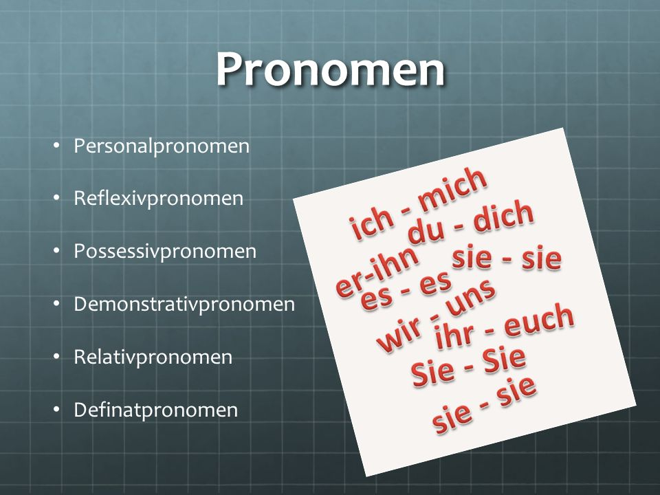 Pronomen Personalpronomen Reflexivpronomen Possessivpronomen