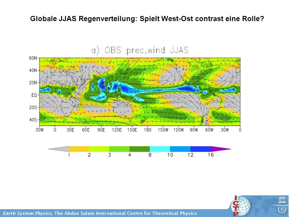 Globale JJAS Regenverteilung: Spielt West-Ost contrast eine Rolle