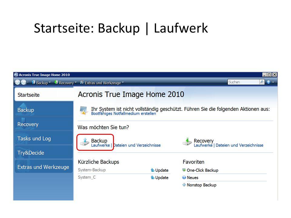 Startseite: Backup | Laufwerk