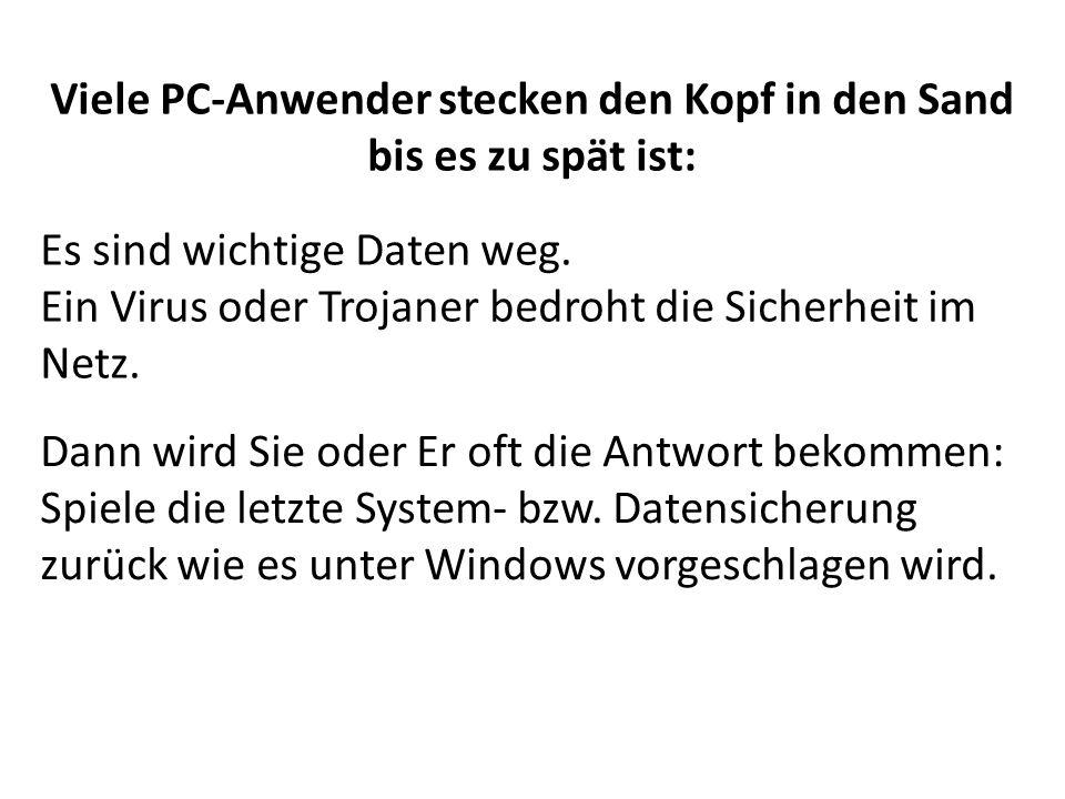 Viele PC-Anwender stecken den Kopf in den Sand