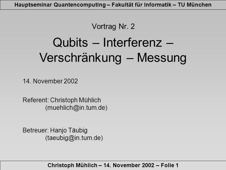 Qubits – Interferenz – Verschränkung – Messung