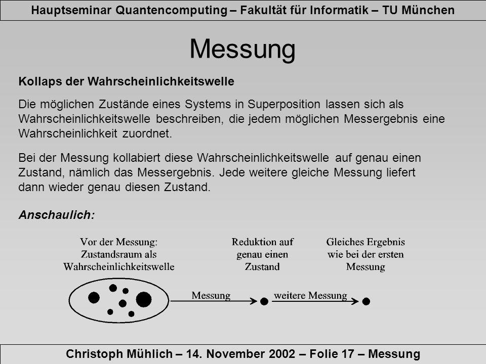 Hauptseminar Quantencomputing – Fakultät für Informatik – TU München