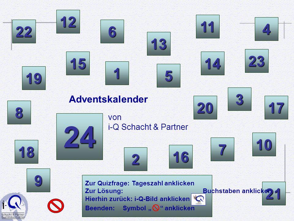 12 11. 4. 22. 6. 13. 23. 15. 14. 1. 5. 19. Adventskalender. 3. 20. 17. 8. von i-Q Schacht & Partner.