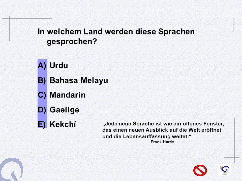 In welchem Land werden diese Sprachen gesprochen