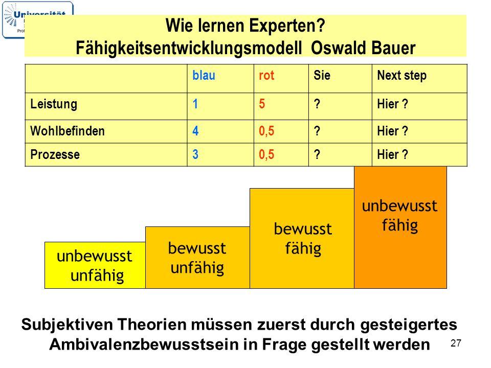 Wie lernen Experten Fähigkeitsentwicklungsmodell Oswald Bauer