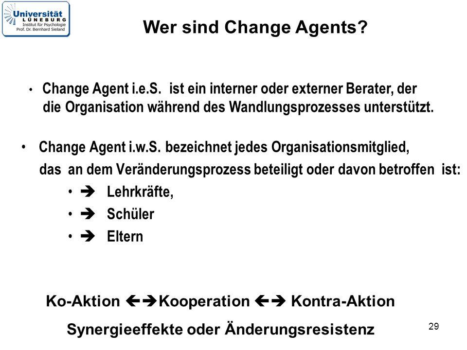 Wer sind Change Agents Change Agent i.e.S. ist ein interner oder externer Berater, der.