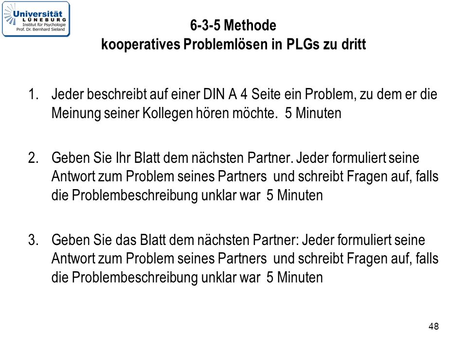 6-3-5 Methode kooperatives Problemlösen in PLGs zu dritt