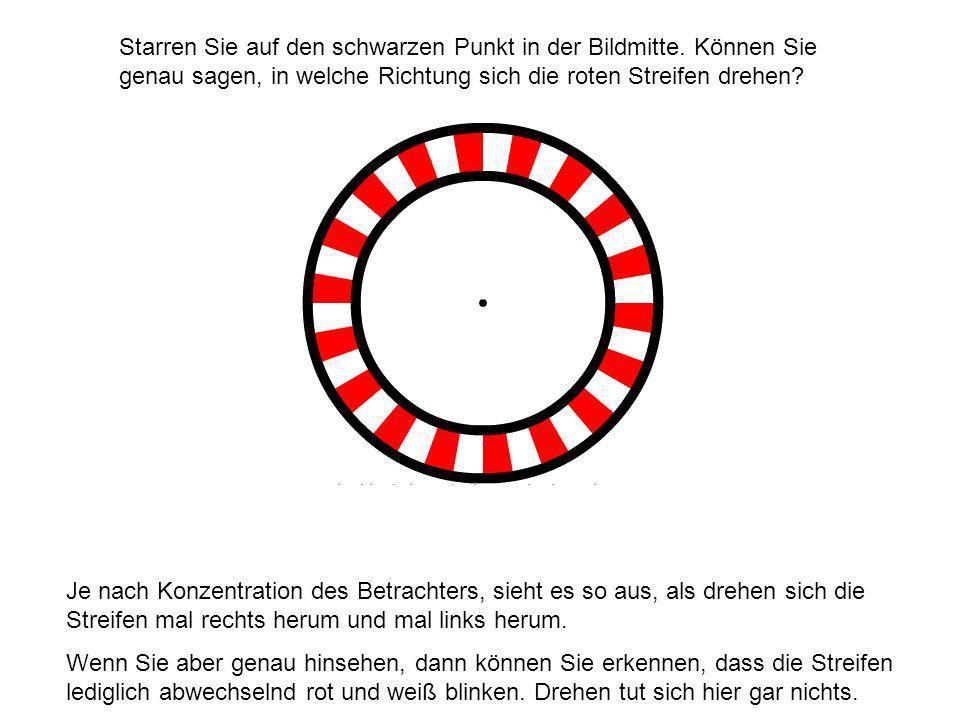 Starren Sie auf den schwarzen Punkt in der Bildmitte