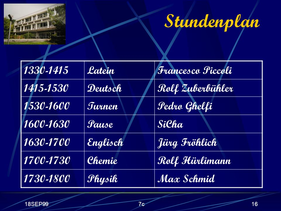 Stundenplan 1330-1415 Latein Francesco Piccoli 1415-1530 Deutsch