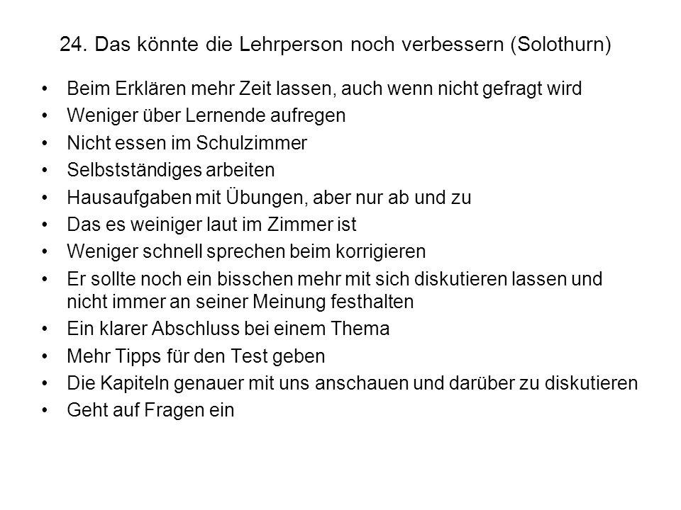 24. Das könnte die Lehrperson noch verbessern (Solothurn)