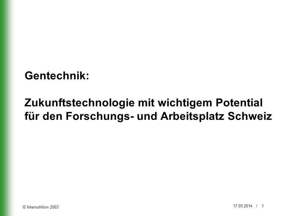 Gentechnik: Zukunftstechnologie mit wichtigem Potential für den Forschungs- und Arbeitsplatz Schweiz