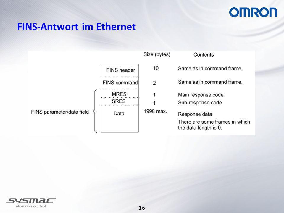 FINS-Antwort im Ethernet
