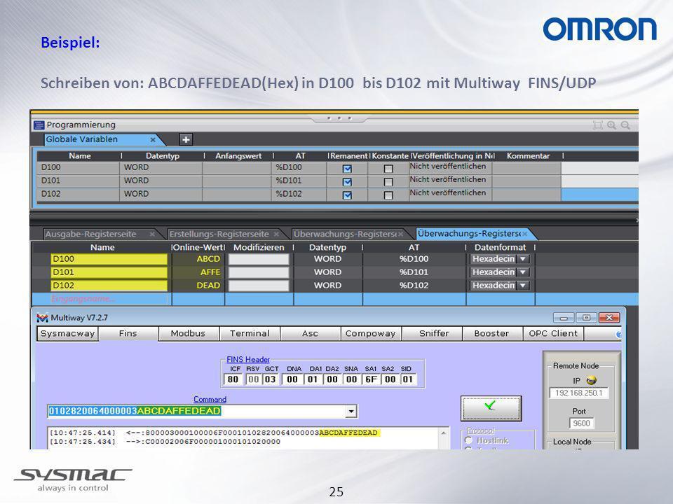 30.03.2017 Beispiel: Schreiben von: ABCDAFFEDEAD(Hex) in D100 bis D102 mit Multiway FINS/UDP