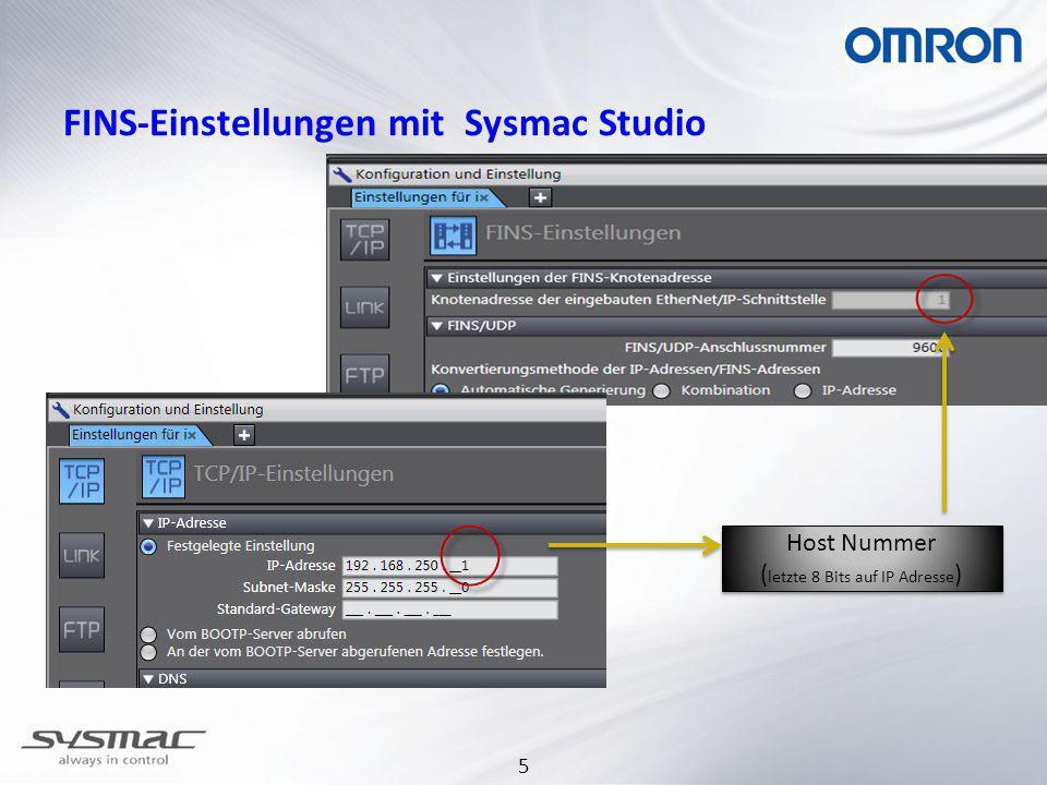 FINS-Einstellungen mit Sysmac Studio