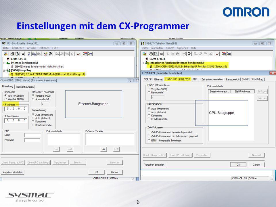 Einstellungen mit dem CX-Programmer