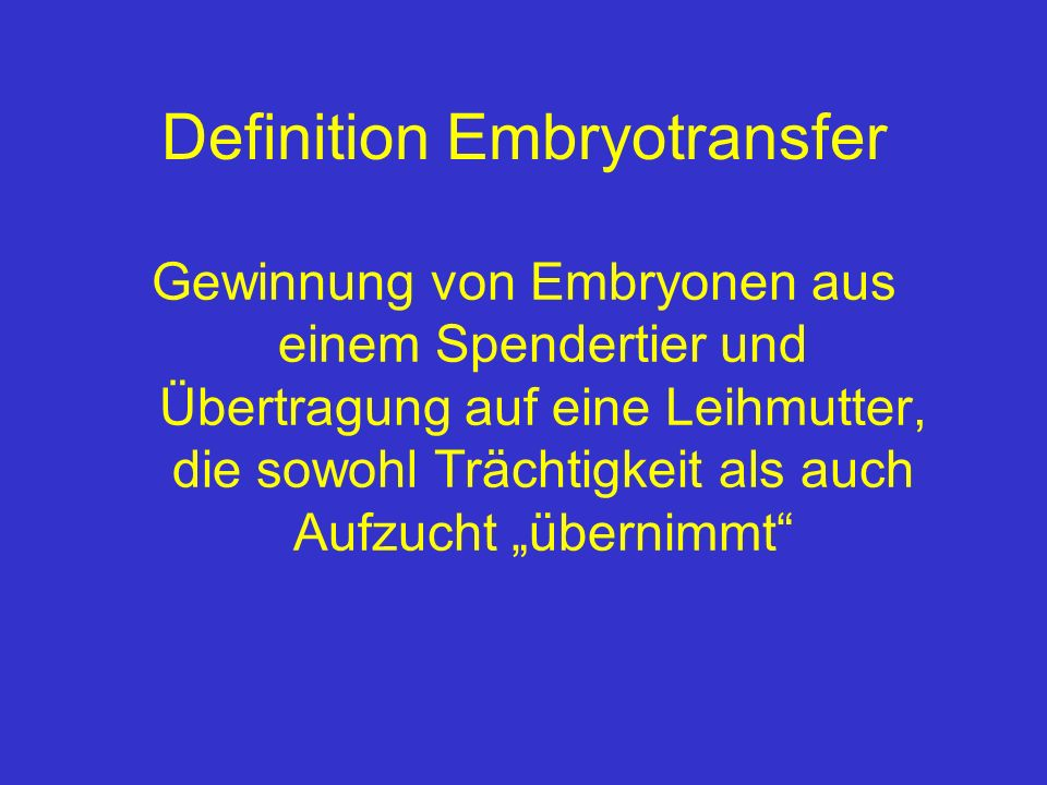 Definition Embryotransfer