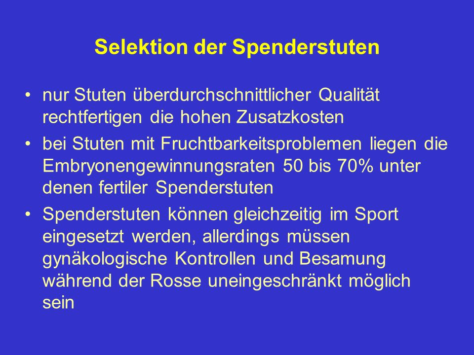 Selektion der Spenderstuten