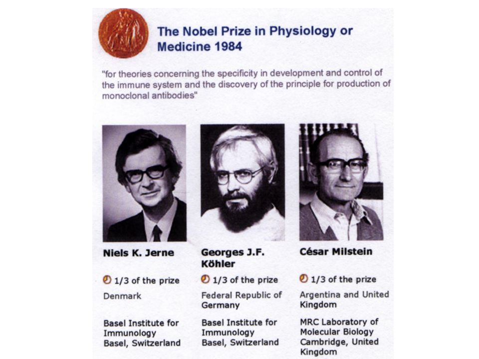 1984, genau vor 20 Jahren, wurde diesen drei Herren der Nobelpreis für Medizin verliehen.
