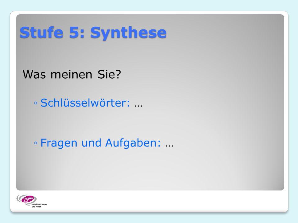 Stufe 5: Synthese Was meinen Sie Schlüsselwörter: …