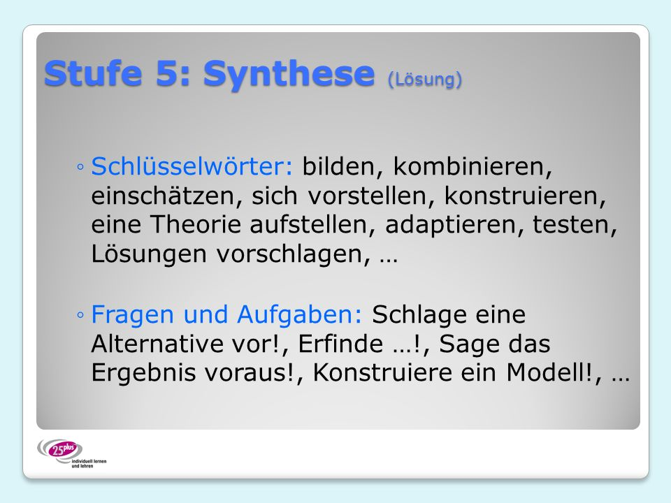 Stufe 5: Synthese (Lösung)