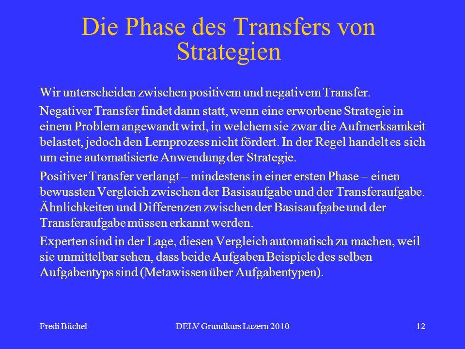 Die Phase des Transfers von Strategien