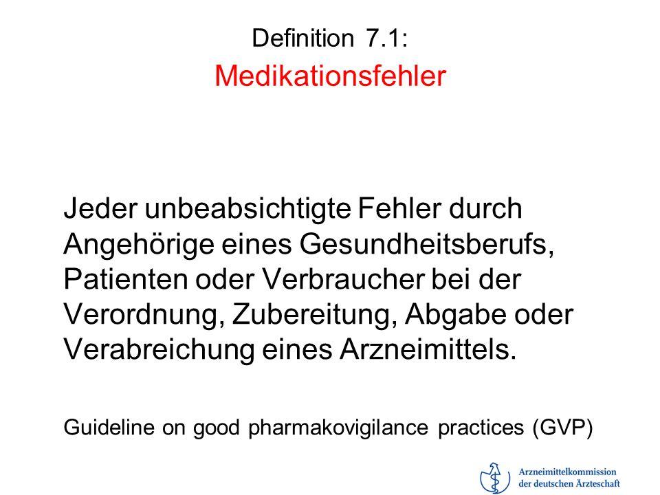 Definition 7.1: Medikationsfehler