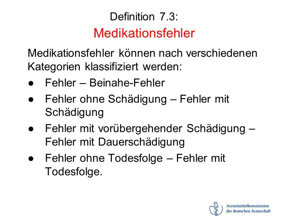 Definition 7.3: Medikationsfehler