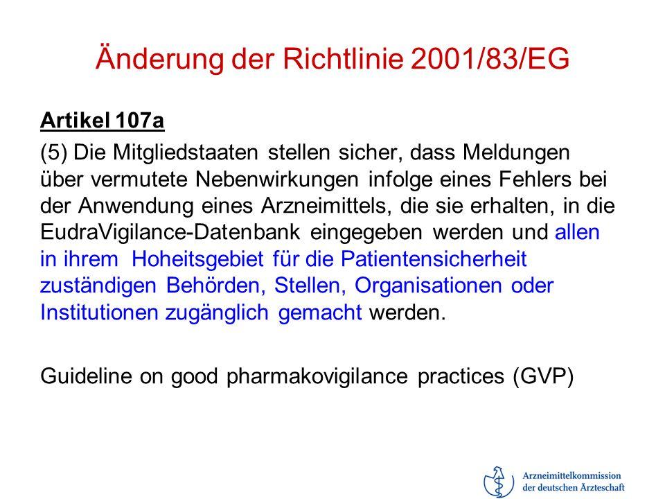 Änderung der Richtlinie 2001/83/EG