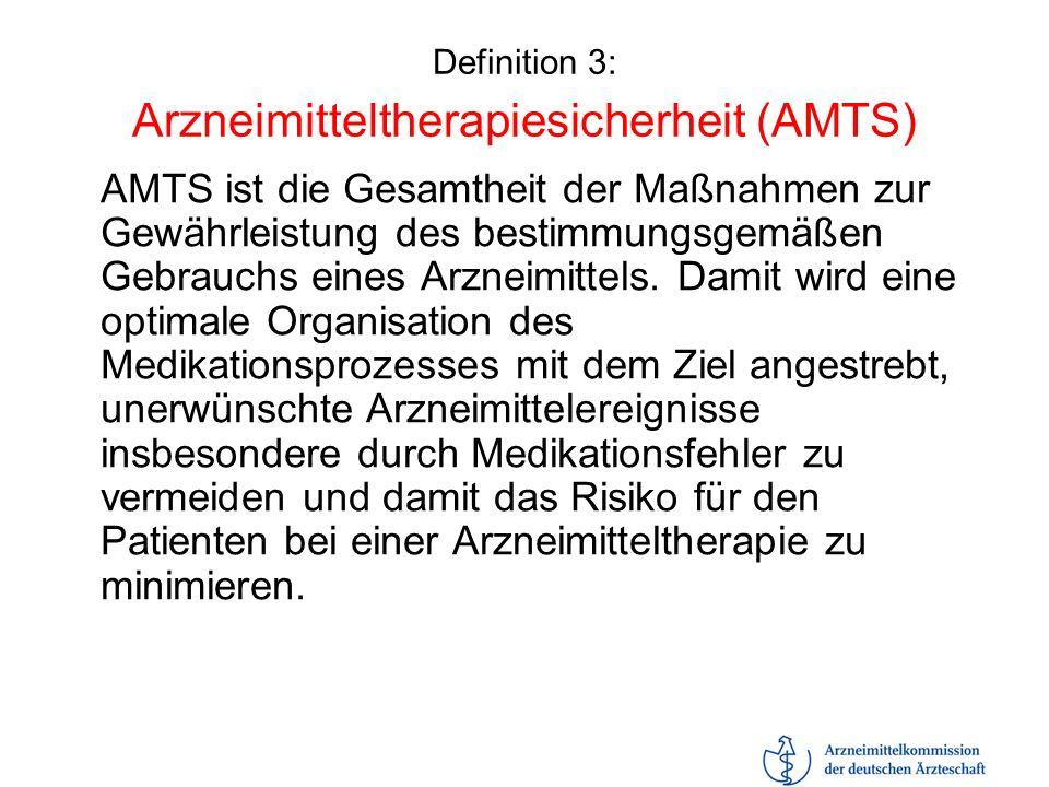 Definition 3: Arzneimitteltherapiesicherheit (AMTS)
