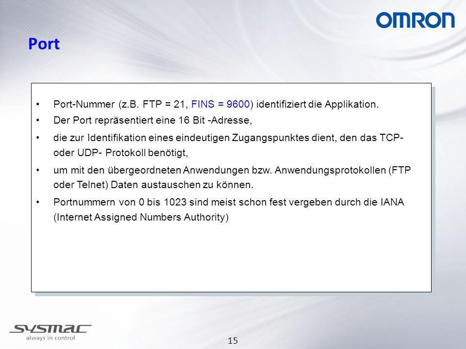 30.03.2017 Port. Port-Nummer (z.B. FTP = 21, FINS = 9600) identifiziert die Applikation. Der Port repräsentiert eine 16 Bit -Adresse,