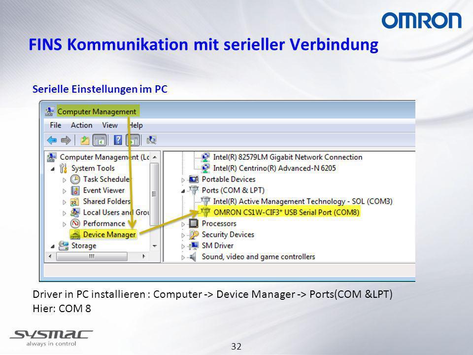 FINS Kommunikation mit serieller Verbindung