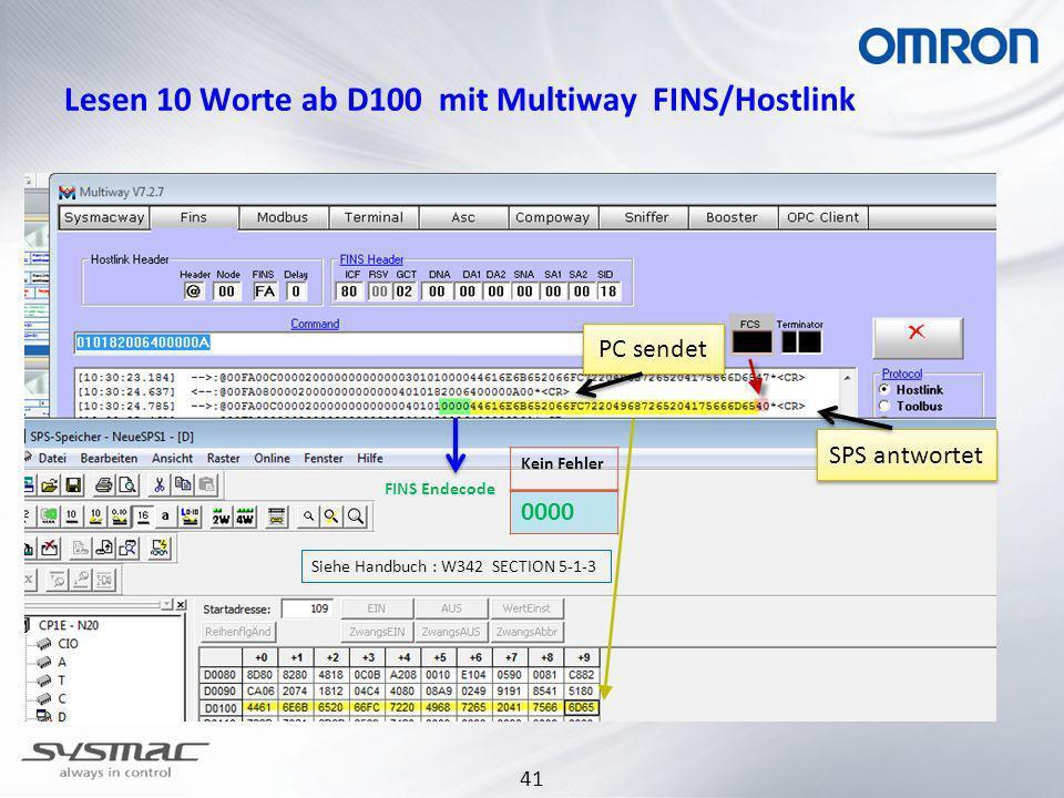 Lesen 10 Worte ab D100 mit Multiway FINS/Hostlink