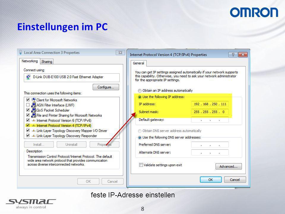 30.03.2017 Einstellungen im PC feste IP-Adresse einstellen