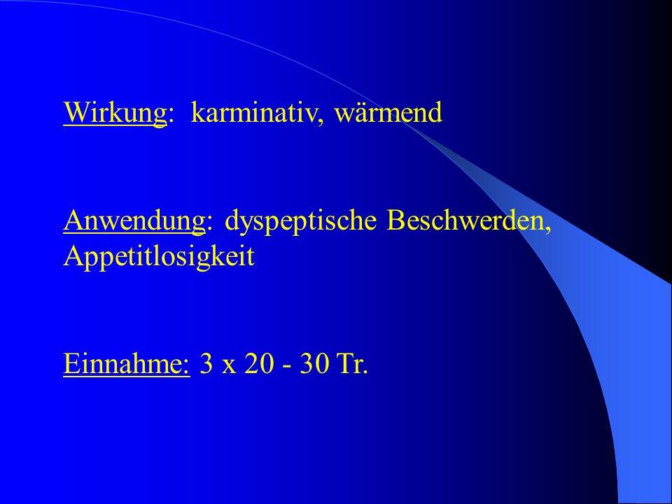 Wirkung: karminativ, wärmend