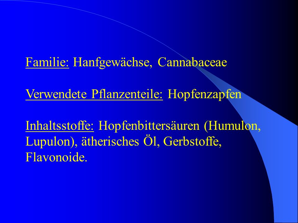 Familie: Hanfgewächse, Cannabaceae