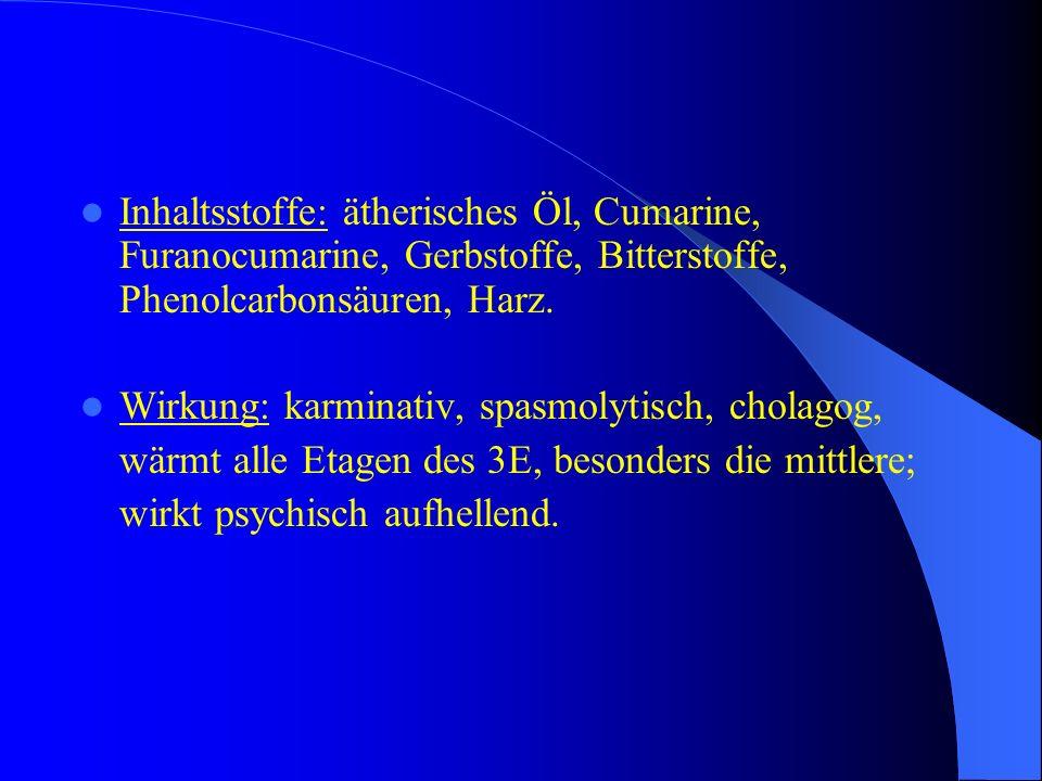 Inhaltsstoffe: ätherisches Öl, Cumarine, Furanocumarine, Gerbstoffe, Bitterstoffe, Phenolcarbonsäuren, Harz.