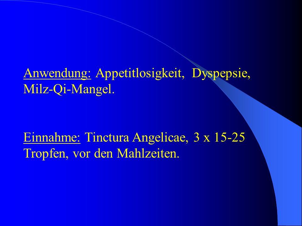 Anwendung: Appetitlosigkeit, Dyspepsie, Milz-Qi-Mangel.