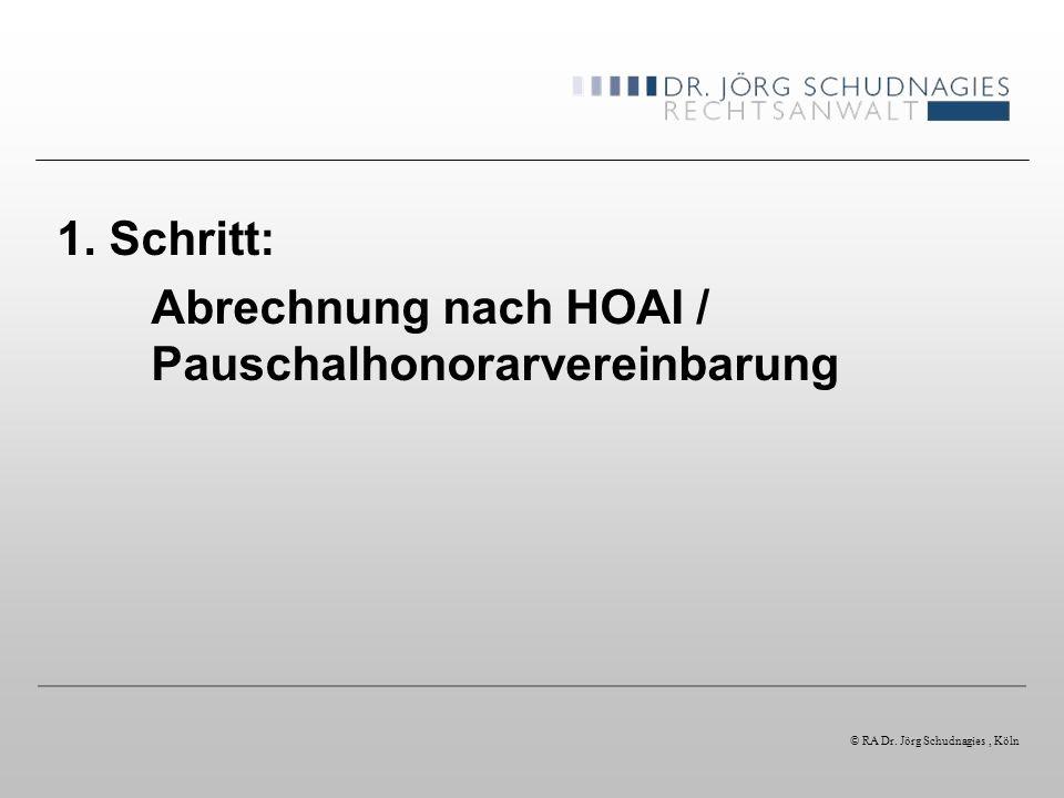 Abrechnung nach HOAI / Pauschalhonorarvereinbarung