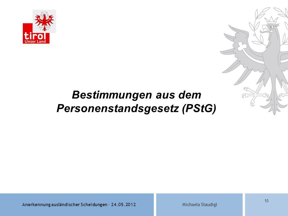 Bestimmungen aus dem Personenstandsgesetz (PStG)