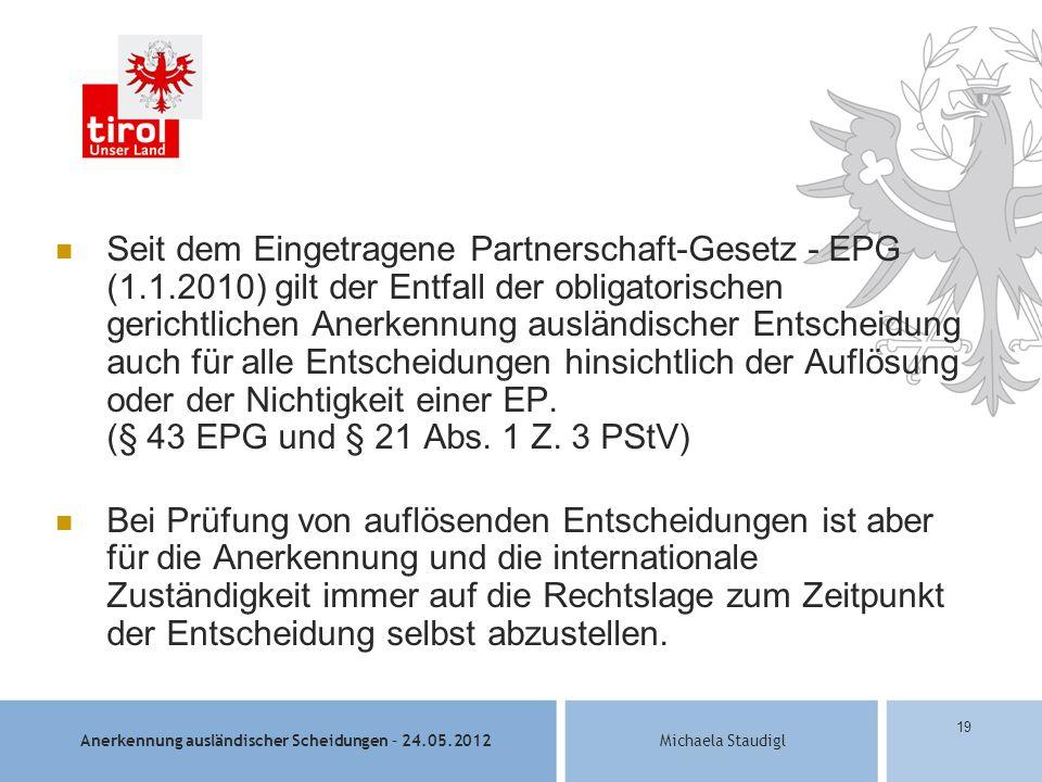 Seit dem Eingetragene Partnerschaft-Gesetz - EPG (1. 1