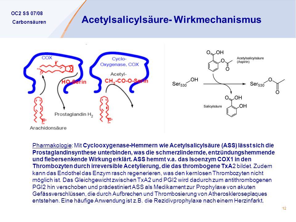 Acetylsalicylsäure- Wirkmechanismus