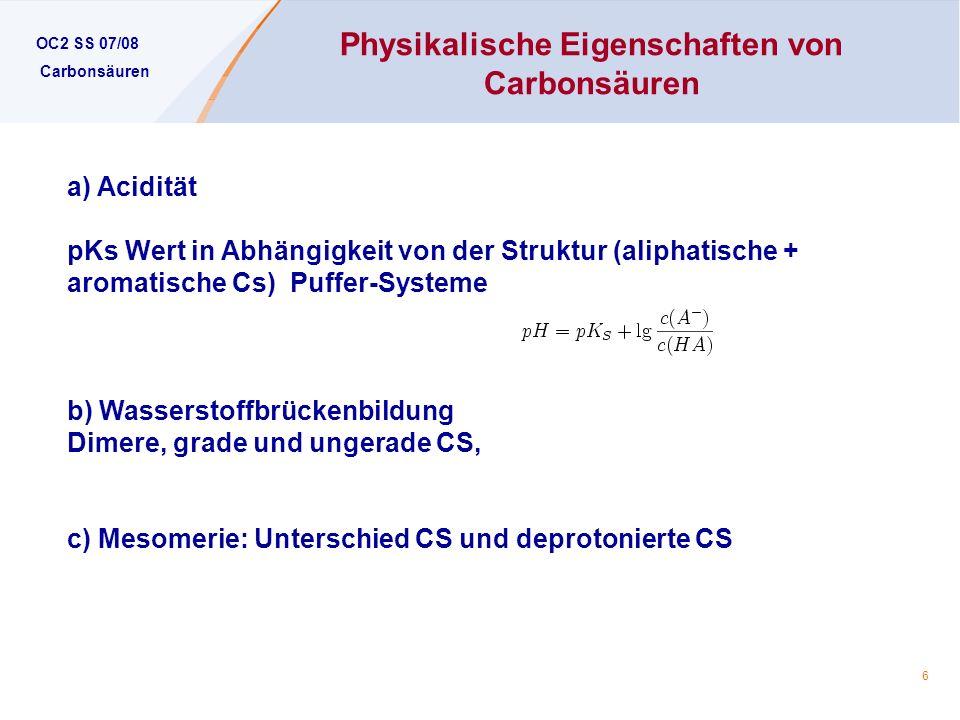 Physikalische Eigenschaften von Carbonsäuren