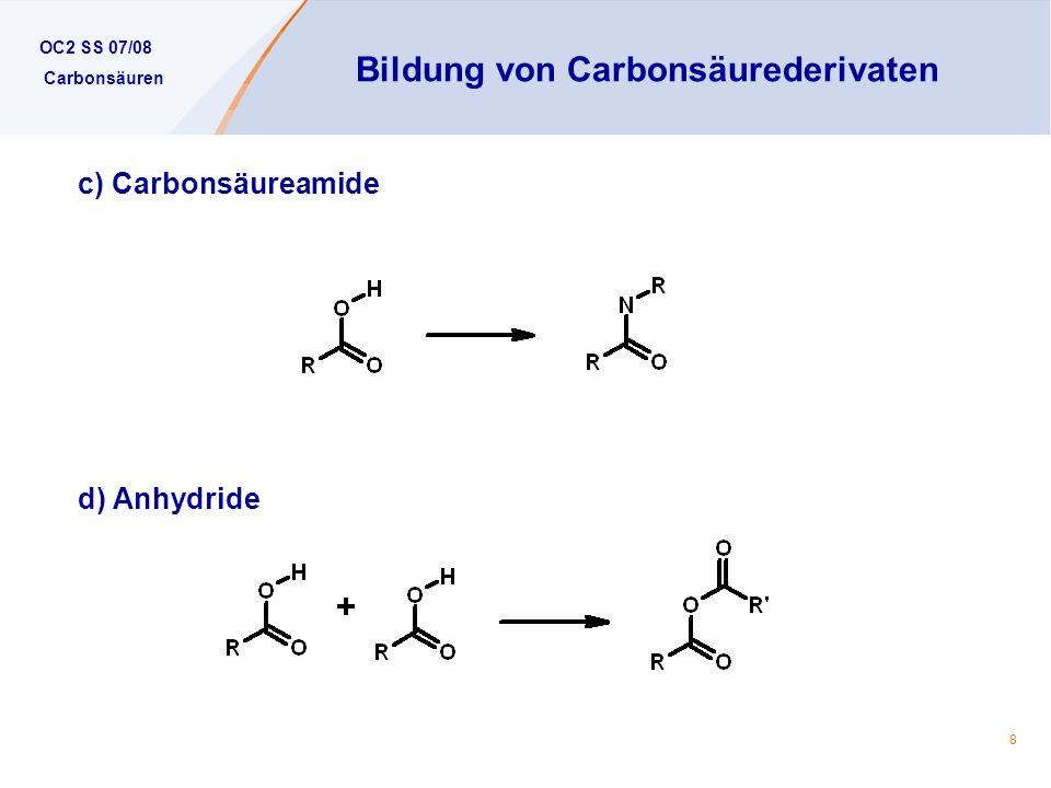 Bildung von Carbonsäurederivaten