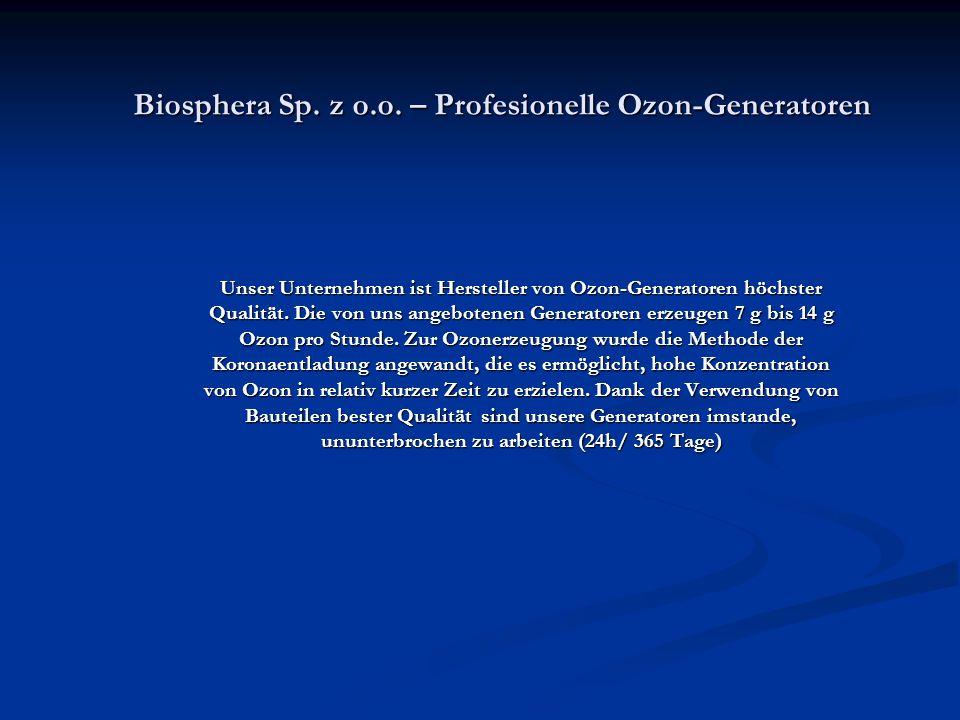 Biosphera Sp. z o.o. – Profesionelle Ozon-Generatoren