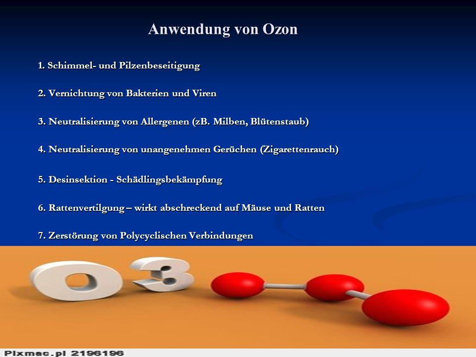 Anwendung von Ozon 1. Schimmel- und Pilzenbeseitigung