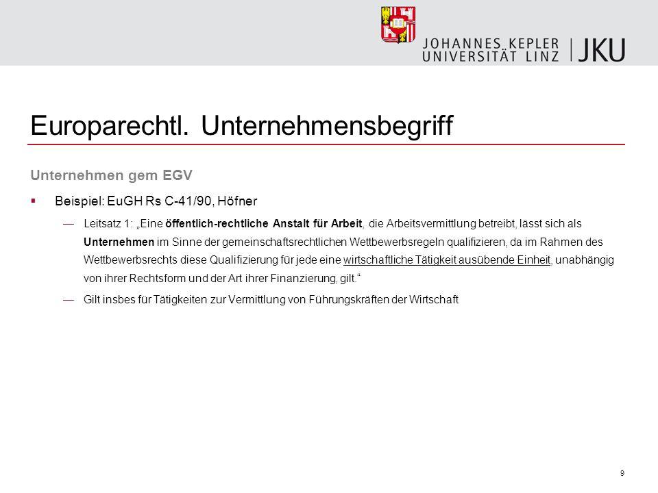 Europarechtl. Unternehmensbegriff