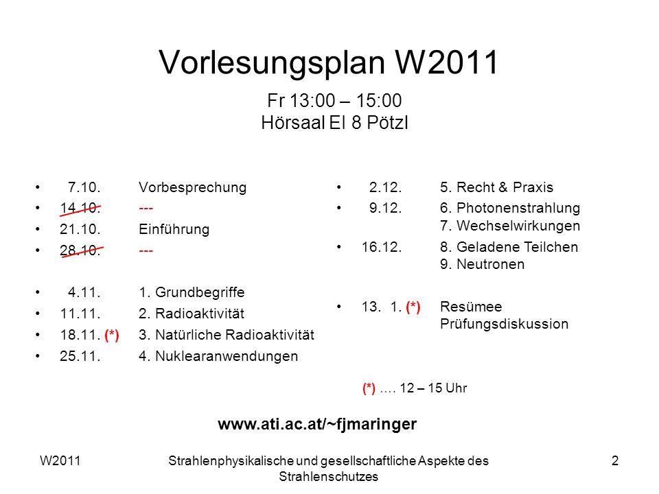 Vorlesungsplan W2011 Fr 13:00 – 15:00 Hörsaal EI 8 Pötzl