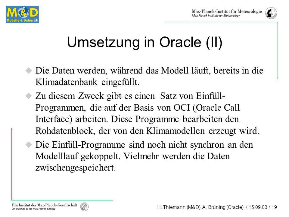 Umsetzung in Oracle (II)