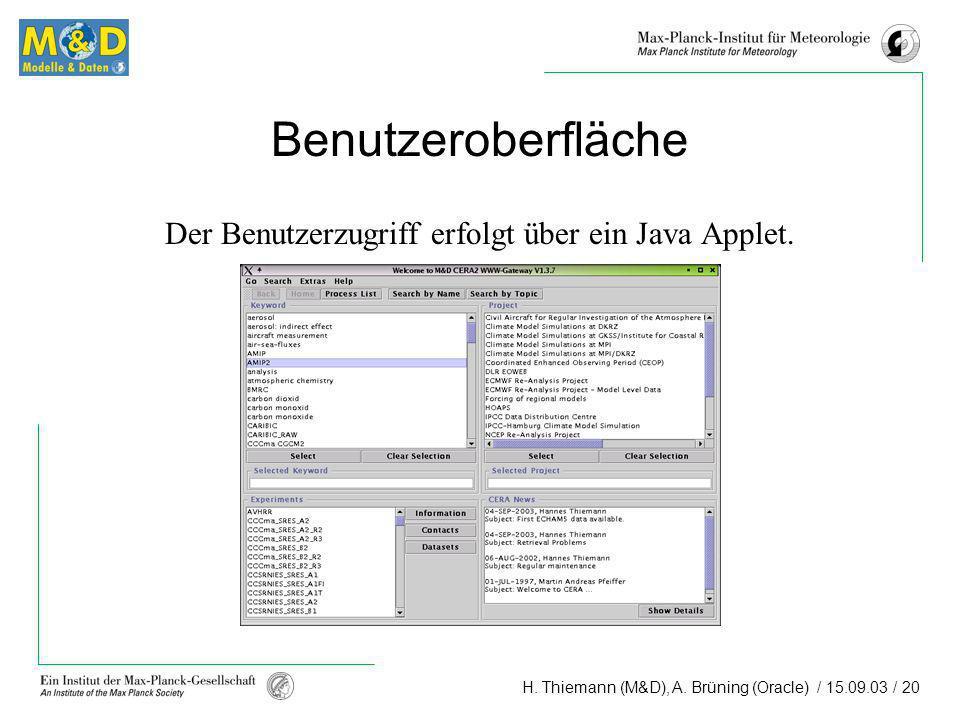 Der Benutzerzugriff erfolgt über ein Java Applet.
